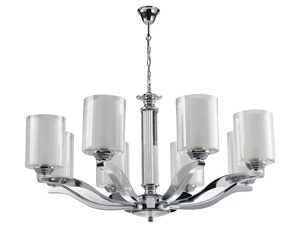 NEWPORT 7900 7908/C , Люстра, Chrome Glass clear/matt white D75.5*H40 cm E14 8*60W