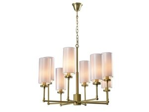NEWPORT 7260 7264+4/C , Люстра, Matt brass White shade D81*H60 cm E14 8*40W