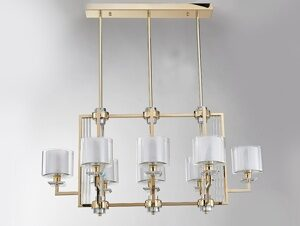 NEWPORT 4400 4408/S gold , Подвесной светильник, Gold Clear crystal Clear glass 107*56*H56 cm E14 8*60W + LED 6*5W